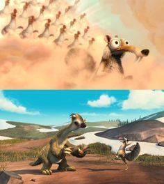 Scrat was so excited when he went to acorn heaven, but then Sid saved his life and took him away from his acorns and brought him back to Earth! (Ice Age)