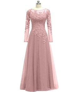 Women's Appliques Tulle Mother Of The Bride Dress Long Sleeves Evening Formal Gown - Hijab+ Trendy Dresses, Women's Dresses, Dress Outfits, Nice Dresses, Fashion Dresses, Bridesmaid Dresses, Formal Dresses, Long Dresses, Fashion 2017