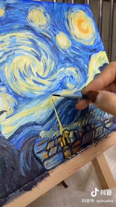 Van Gogh painting – Hobbies paining body for kids and adult Small Canvas Art, Mini Canvas Art, Diy Canvas, Canvas Painting Tutorials, Painting Techniques, Texture Painting On Canvas, Arte Van Gogh, Cool Art Drawings, Van Gogh Drawings