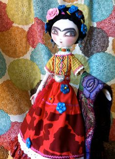 Little Frida Kahlo art doll RESERVED 13' cloth by AmandaSueMyers