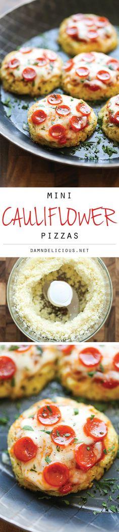 Mini Cauliflower Pizzas . These pizzas are so much healthier with a crisp cauliflower crust!  (Via @DamnDelicious)