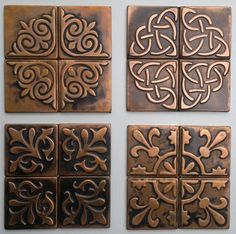 Copper, Kitchen backsplash , SET OF 4 TILES, copper decor, rustic,  modern copper metal wall art, brown home décor, accent  tiles, patina