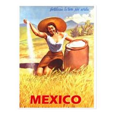#Mexico Mexican girl farm vintage postcard - #vintage #travel #cards #custom #personalize