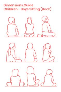 Children Kids Sitting Back Posture Drawing Drawing People Human Figure Sketches