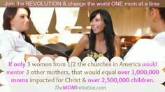 Is it REALLY possible to reach 1,000,000 moms for Christ?I just talked to one pastor who believes it is! Contact us at The M.O.M. Initiative to find out how YOU can help reach moms for Christ & minister to those who know Him already. http://www.themominitiative.com/join-here/