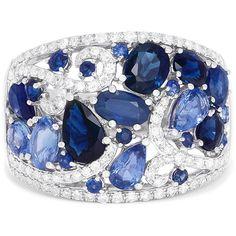 Effy Jewelry Effy Gemma 14K White Gold Blue Sapphire and Diamond Ring,... (35,095 MXN) ❤ liked on Polyvore featuring jewelry, rings, 14k ring, 14 karat gold diamond ring, diamond jewelry, 14 karat diamond ring and blue sapphire white gold ring