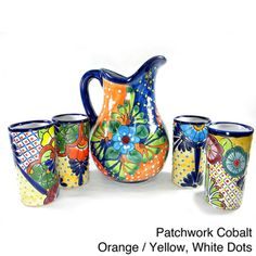 @Overstock - Talavera style pitcher and cup set a beautiful and whimsical addition to your home decor. This beautiful 5-piece pitcher and cups set is for decorative purpose only.http://www.overstock.com/Main-Street-Revolution/Mexican-Talavera-Style-Pitcher-and-Cups-5-piece-Set/7731687/product.html?CID=214117 $135.29