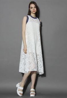 Relax Full Lace Midi Dress in White - New Arrivals - Retro, Indie and Unique Fashion