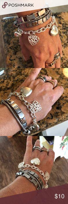 💜Cute Silver Heart Bracelet (Costume) from Next💕 💜Cute Rustic look Silver Heart Bracelet (Costume) from Next💕 Next Jewelry Bracelets