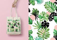 Tote bag / race bag / cotton bag / tropical leaves by HirundoShop
