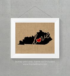 Kentucky (KY) Love / Home Burlap or Canvas Paper State Silhouette Wall Art Print