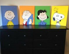 Peanut Gang inspired hand painted canvases Charlie brown, Snoopy painted canvases