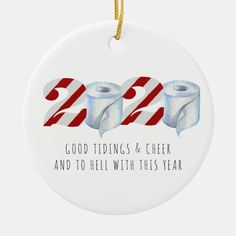 Quarantine Christmas | Funny 2020 Commemorative Ceramic Ornament - tap to personalize and get yours #CeramicOrnament #ad #christmas #2020 #social #distancing