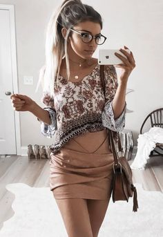 boho top with pencil beige skirt idea to try right now