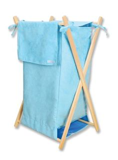 Trend Lab's Turquoise ultra suede Hamper is a decorative solution for quick clean up in your nursery, bathroom or laundry room. The turquoise ultra suede body and outer flap easily attaches to the collapsible pine wood frame. Nursery Accessories, Natural Baby, Boy Room, Baby Care, Turquoise, Lab, Hampers, Inspiration, Design