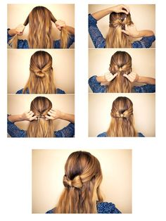 Bow hair tutorial-I hope it looks cute with curly hair! Party Hairstyles, Cool Hairstyles, Face Hair, Hair Day, Hair Hacks, Hair Inspiration, Hair Cuts, Hair Beauty, Long Hair Styles