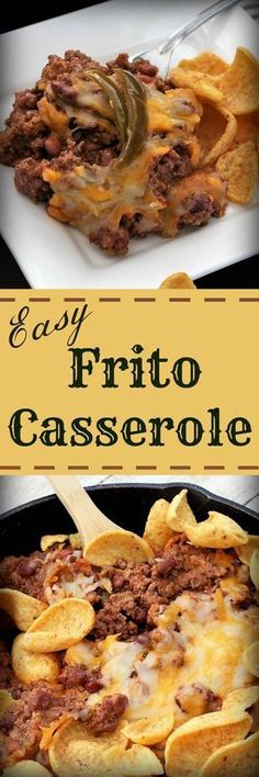 Easy Frito Casserole - My Recipe Treasures Casserole Dishes, Casserole Recipes, Crockpot Recipes, Cooking Recipes, Pizza Casserole, Skillet Recipes, Copycat Recipes, Beef Dishes, Food Dishes