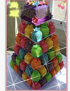 HOT selling!6 Tier Square Crystal Acrylic Birthday Cupcake Stand Wedding Party Dessert Cake Display Stand decoration