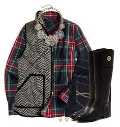 """""""Plaid & herringbone with statement necklace"""" by steffiestaffie ❤ liked on Polyvore featuring мода, J.Crew, Abercrombie & Fitch, Tiffany & Co. и Tory Burch"""