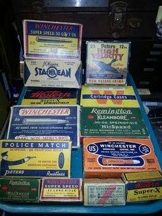 Vintage ammo boxes