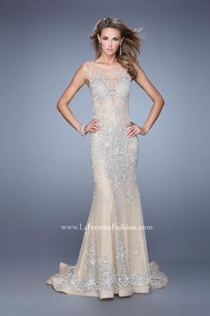 La Femme 21556 Gown with Exquisite Train