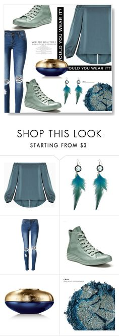 """i wanna go out tonight"" by omniaasaad ❤ liked on Polyvore featuring BCBGMAXAZRIA, WithChic, Converse, Guerlain and Urban Decay"