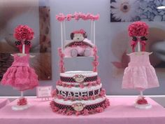 Baby Shower, Monkey and Pink Ballerina Theme. Pink and Brown Theme Baby Diaper Cake
