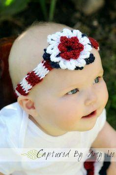 Crochet Patterns Headband of July Crochet Headband Red and White Learn To Crochet, Crochet For Kids, Easy Crochet, Crochet Baby, Knit Crochet, Crochet Hair Accessories, Crochet Hair Styles, Crochet Clothes, Crochet Headbands