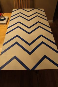Chevron stripes wall art tutorial - taped and ready to paint.