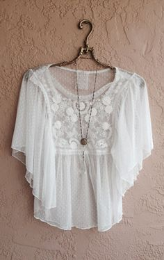 Romantic White lace bohemian sheer embroidered cape