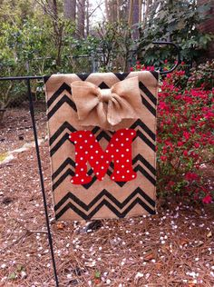 Burlap Garden Flag Chevron Stripe Burlap Bow and Choice of Six Polka Dot Colors Monogram. $20.00, via Etsy.