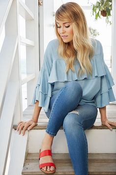 Lauren Conrad wearing an LC Lauren Conrad Ruffle Chambray Top | Available at Kohl's