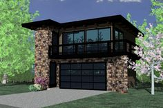 Modern 1 Beds 1 Baths 615 Sq/Ft Plan #509-32 Front Elevation - Houseplans.com