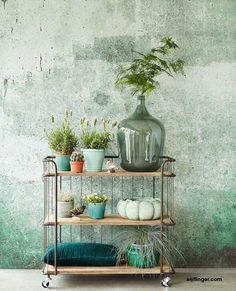 Incroyable papier peint par // Amazing wallpaper by Look Wallpaper, Amazing Wallpaper, Green Wallpaper, Interior Styling, Interior Design, Deco Nature, Ideas Hogar, Industrial Interiors, Home And Deco