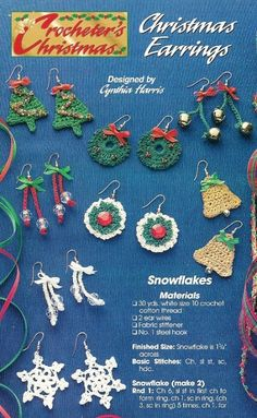 Y131 Crochet PATTERN ONLY Christmas Earrings Wreath Bell Tree Snowflake Baubles Black Friday Etsy. $6,95, via Etsy.