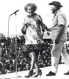 Phyllis Diller entertains the troops during a Bob Hope USO Tour in Vietnam.