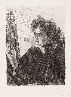 """ANDERS ZORN, """"Girl with a Cigarette II"""". - Bukowskis"""