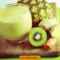 This is a great juice to reduce inflammation - Kiwi, Pineapple and Ginger