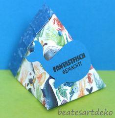 Projekt 2: Selbstschließende 3-Eckbox/Goodie/Mitbringsel/Verpackung - Box 2 Box, Paper, Cordial, Packaging, Projects, Cards, Snare Drum