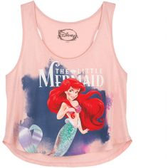 The Little Mermaid Tank (20 CAD) ❤ liked on Polyvore featuring tops, shirts, tank tops, tanks, graphic tees, pink top, pink shirt, pink tank, graphic shirts and graphic tank tops