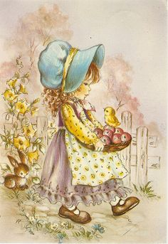 a postcard from the year printed in Italy, PR-kortti Art And Illustration, Illustrations, Vintage Cards, Vintage Postcards, Adorable Petite Fille, Sarah Key, Decoupage Vintage, Holly Hobbie, Vintage Easter