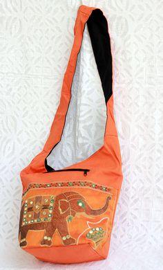 Profound embroided elephant on cotton  jhola or shoulder bag