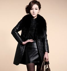 a80d250a6e Fashion Ladies PU Leather Jackets 2016 New Fall Winter Fur Collar Women  Jacket Coat High Quality Slim Overcoat Outerwear