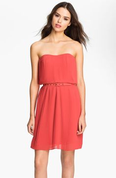 FELICITY & COCO Strapless Pleated Chiffon Dress (Nordstrom Exclusive)   Nordstrom
