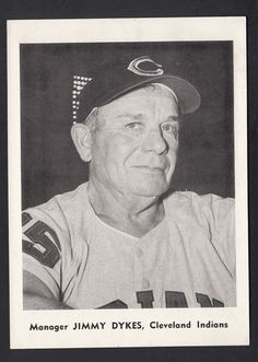 jimmy dykes 1961 team issued 5x7 b/w photo card cleveland indians from $5.25