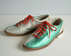 Vintage Bowling Shoes / Womens Eagle Brand Silver by zestvintage