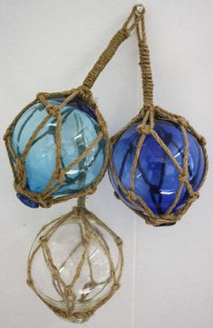 Glass and Rope Hanging Nautical Balls