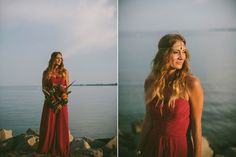 Bright & Bold Bohemian Engagement Shoot     Warm light and red dress