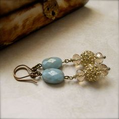 Amazonite Gemstone Earrings Light Blue Gold by chichigemmes