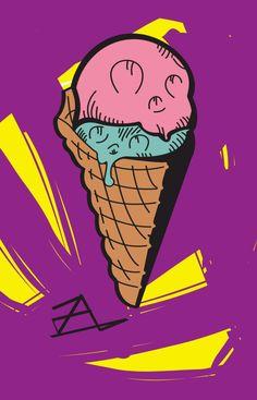 #icecream #graffiti #colour Icecream, Bart Simpson, Graffiti, Colour, Fictional Characters, Color, Ice Cream, Fantasy Characters, Colors
